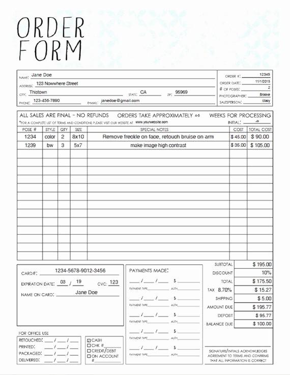 Sales order form Template Free Beautiful Pdf General Graphy Sales order form Template
