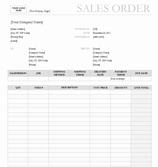 Sales order form Template Free Fresh Sales order Templates