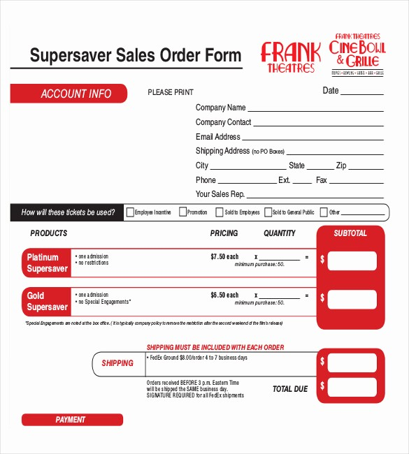 Sales order form Template Free Inspirational 26 Sales order Templates – Free Sample Example format