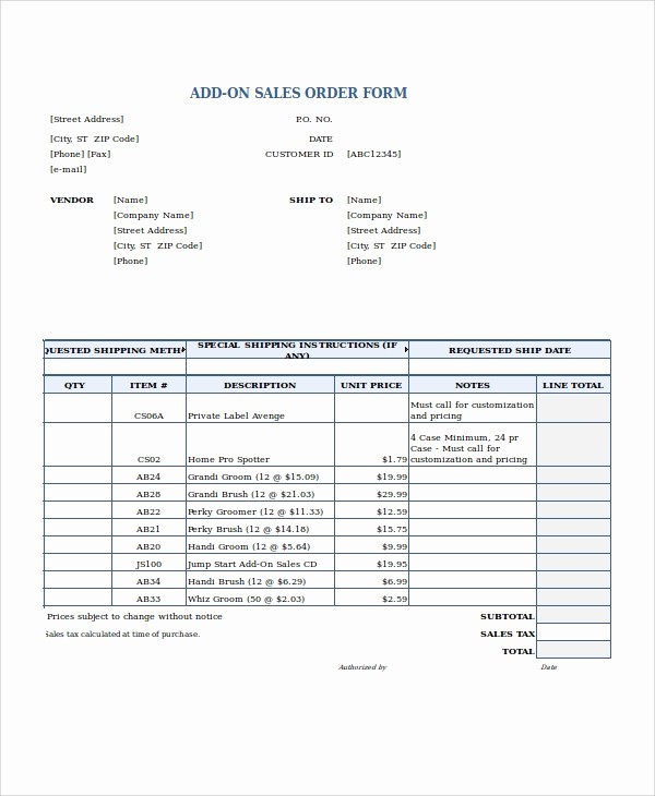 Sales order form Template Free Lovely Excel order form Template 19 Free Excel Documents
