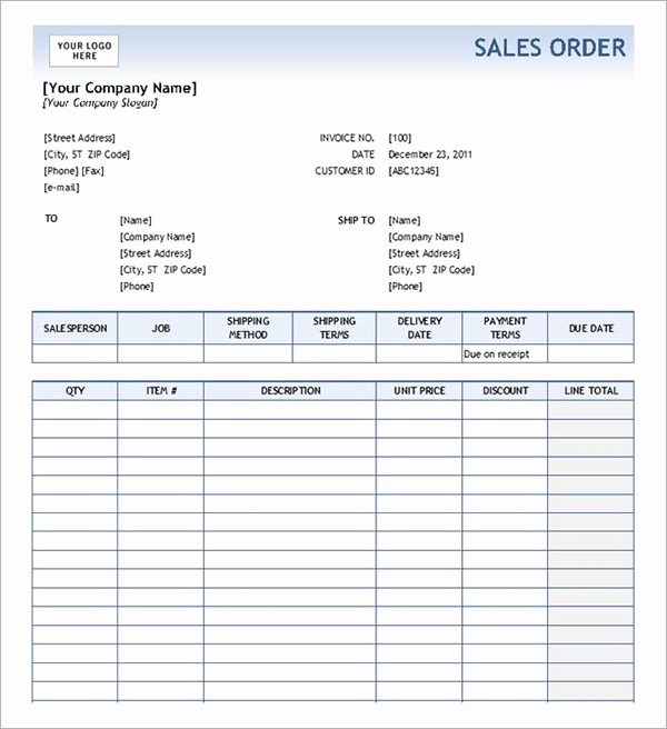 Sales order form Template Free Lovely Sales order form Template