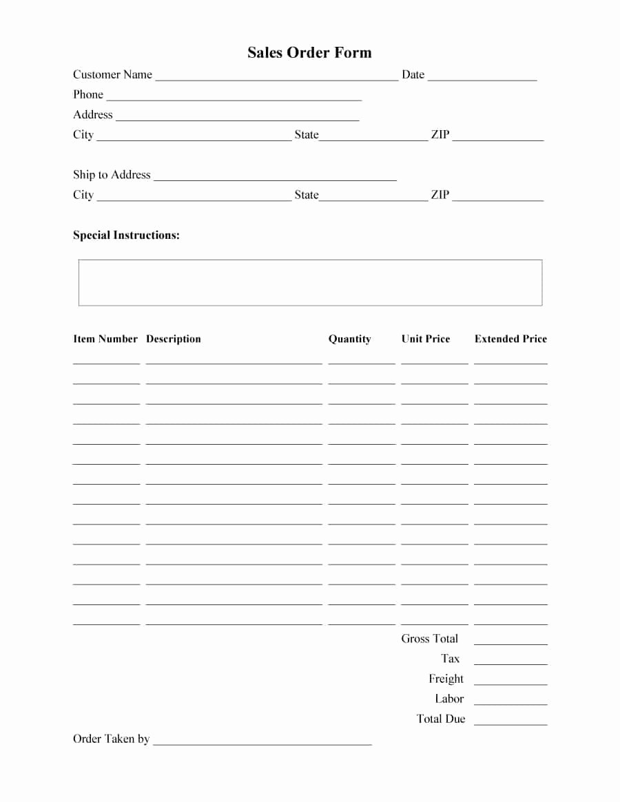 Sales order form Template Free Unique 40 order form Templates [work order Change order More]