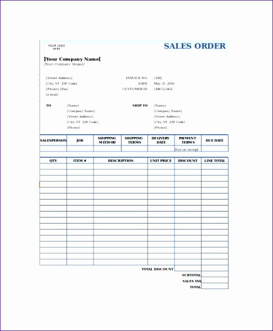 Sales order form Templates Free Inspirational 8 Sales order form Template Excel Exceltemplates