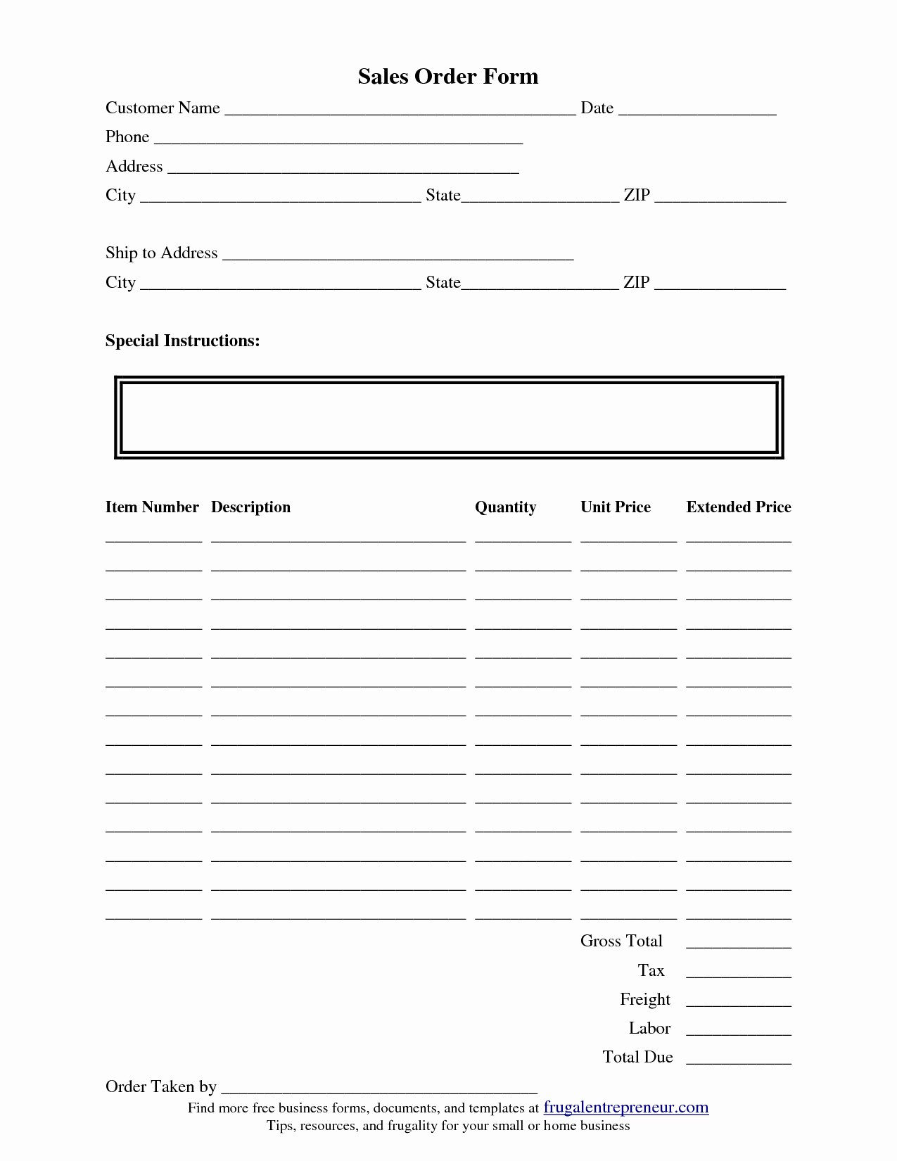 Sales order form Templates Free Lovely order form Template