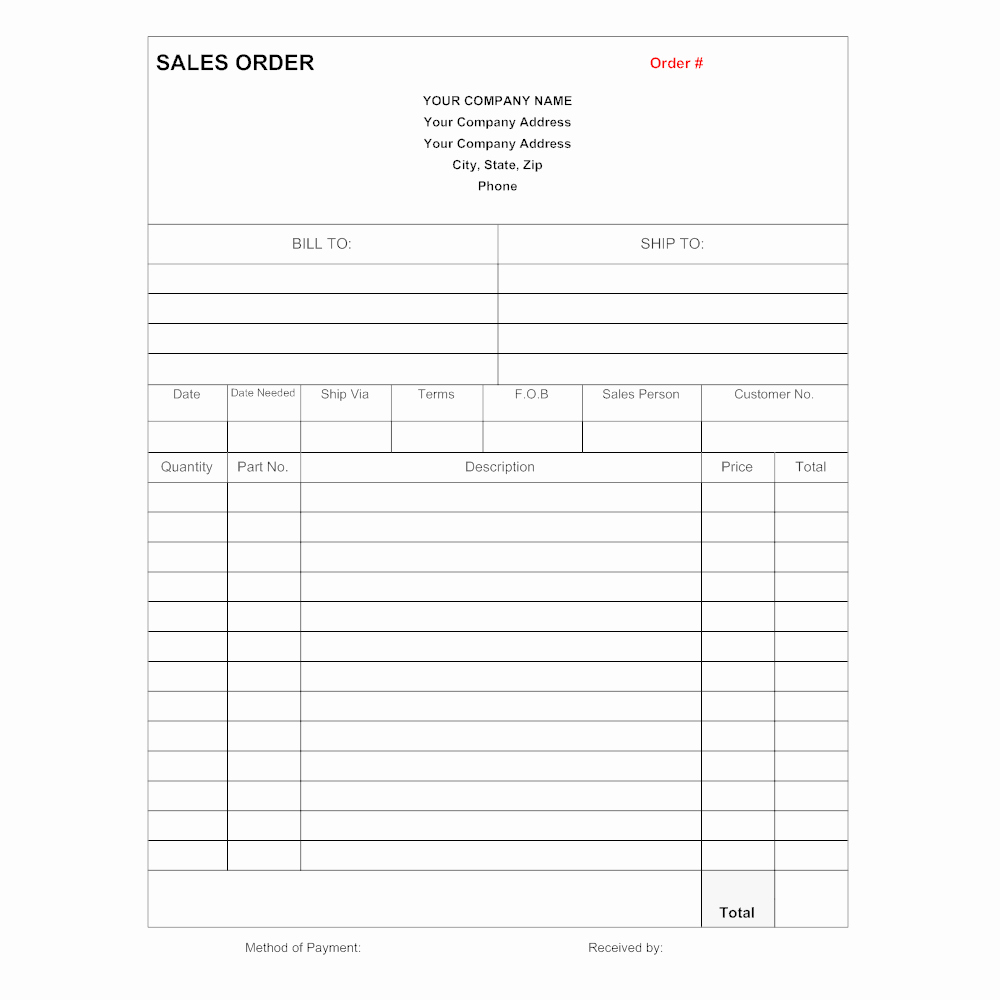 Sales order forms Templates Free New Sales order form