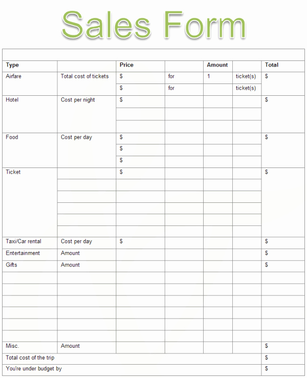 Sales order forms Templates Free Unique Sales form Examples and Templates