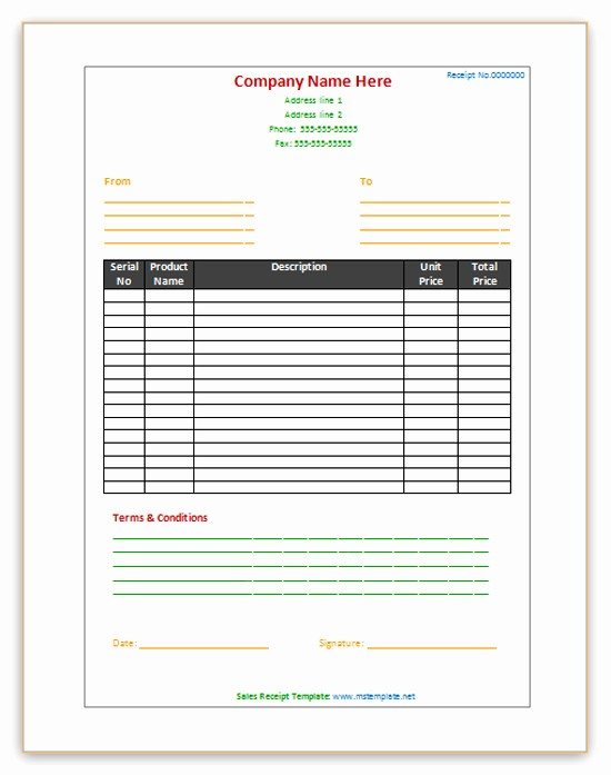 Sales Receipt Template Microsoft Word Awesome Sales Receipt Template Microsoft Fice Templates