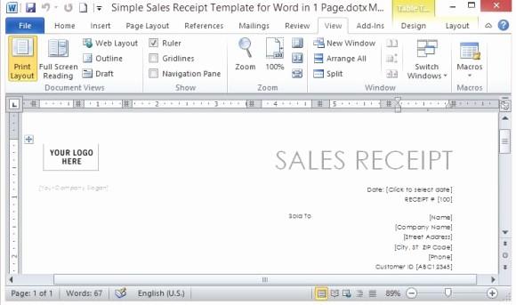 Sales Receipt Template Microsoft Word Beautiful Receipt Template Word