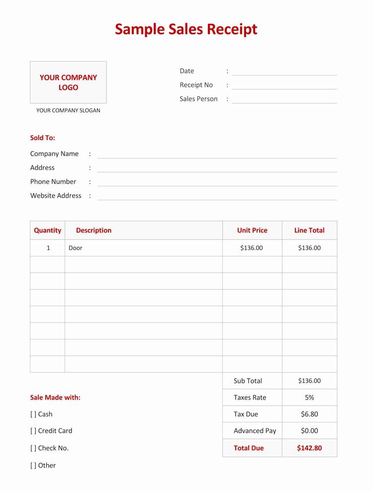 Sales Receipt Template Microsoft Word Elegant 12 Free Sales Receipt Templates Word Excel Pdf