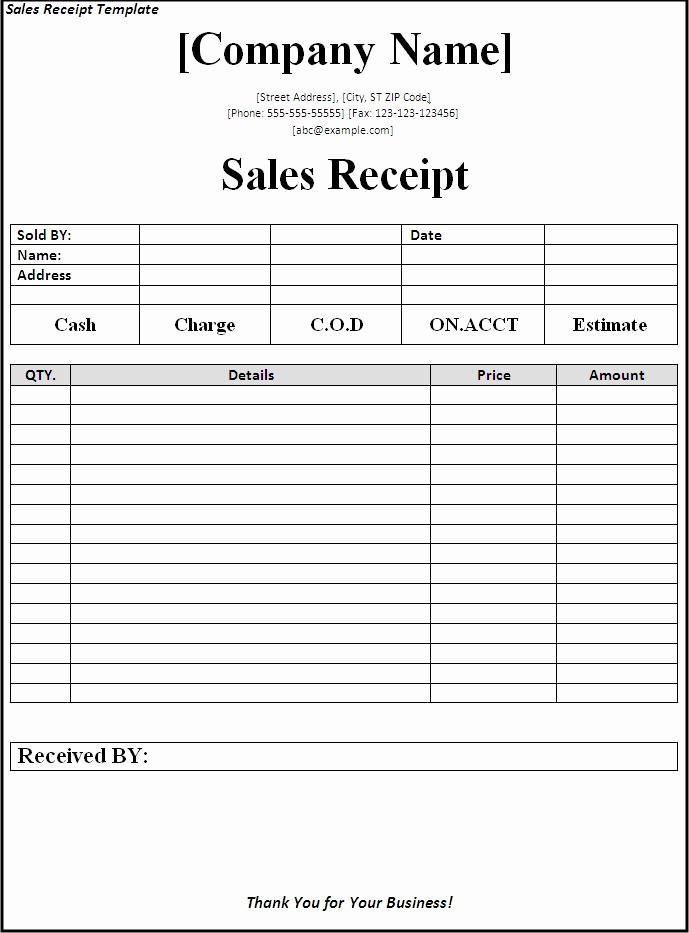 Sales Receipt Template Microsoft Word Fresh 10 Best Of Receipt Template for Word 2003 Receipt