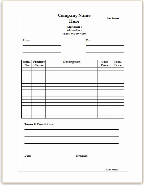 Sales Receipt Template Microsoft Word New Best S Of Microsoft Fice Word Templates Free