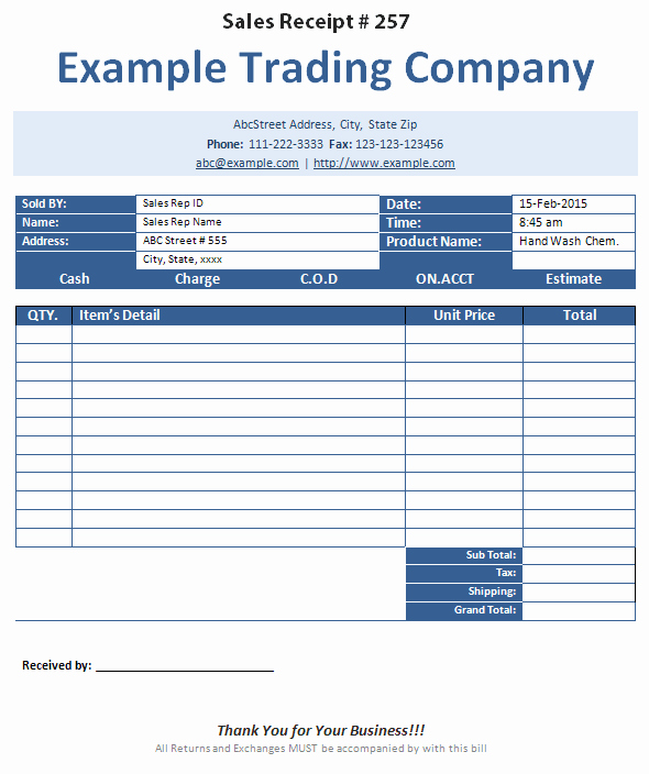 Sales Receipt Template Microsoft Word New Printable Sales Receipt Created In Ms Word