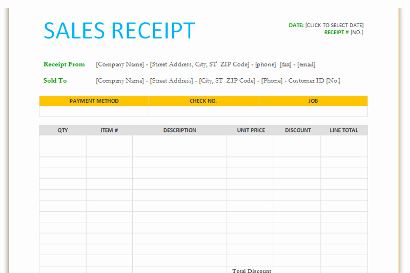 Sales Receipt Template Microsoft Word New Sales Receipt Template for Word Dotxes