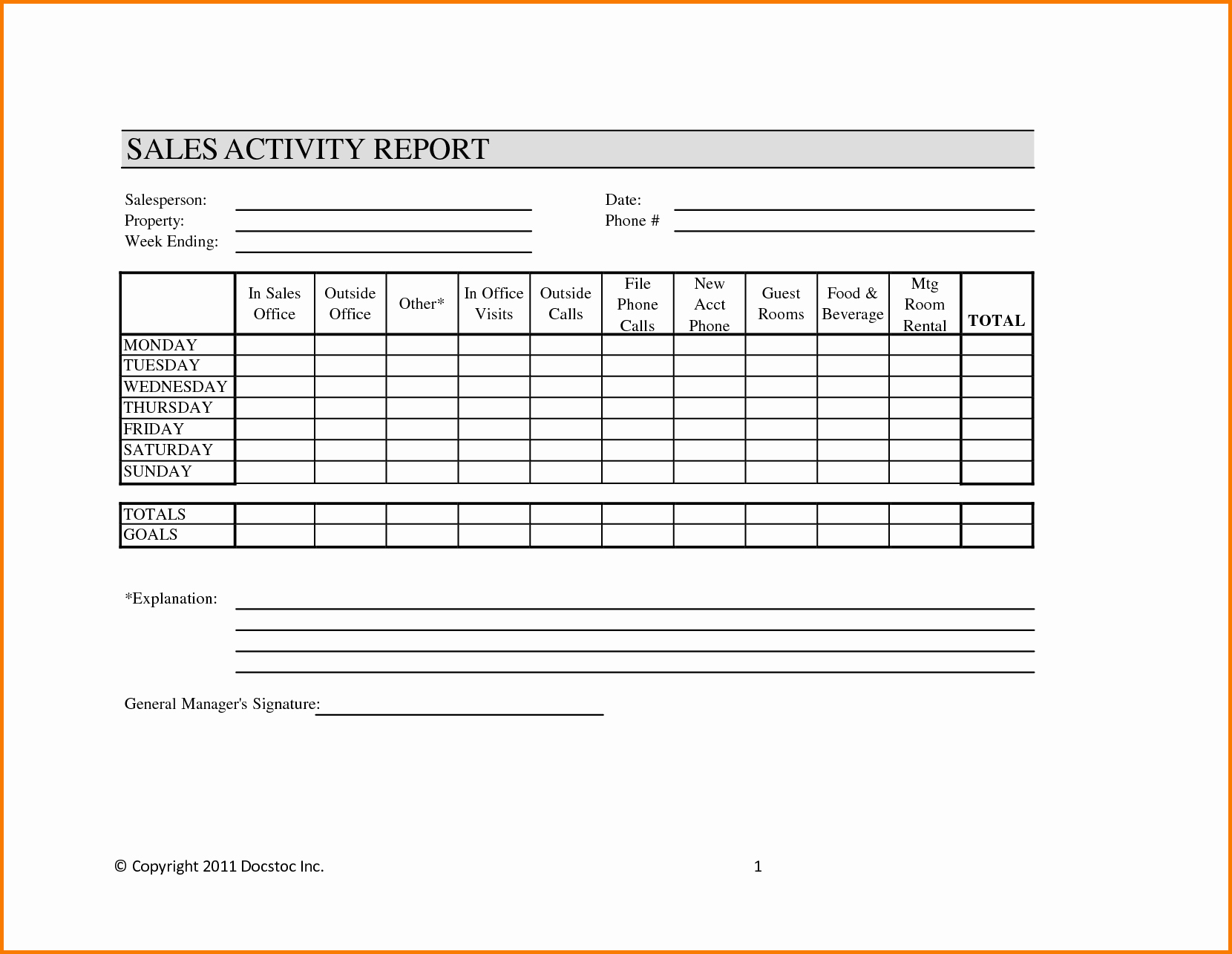 Sales Rep Activity Report Template Fresh Weekly Sales Report Template