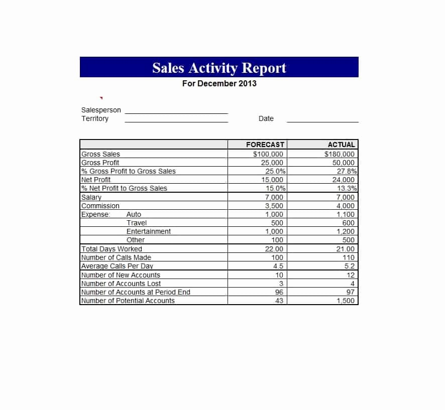 Sales Rep Activity Report Template Luxury 45 Sales Report Templates [daily Weekly Monthly Salesman