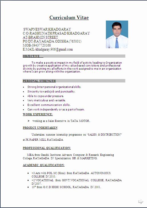 Sales Resume Template Microsoft Word Best Of Resume Sample In Word Document Mba Marketing & Sales