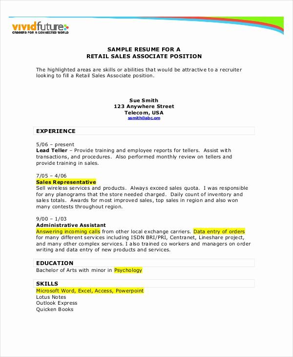 Sales Resume Template Microsoft Word Fresh Retail Resume Template Microsoft Word Anekantafo