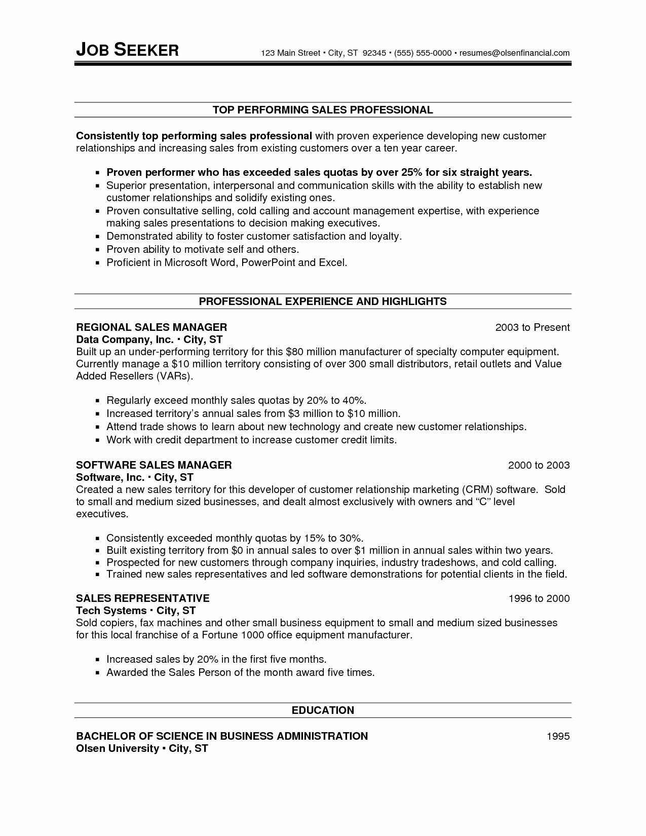 Sales Resume Template Microsoft Word Unique Sales Resume Template Microsoft Word Bongdaao