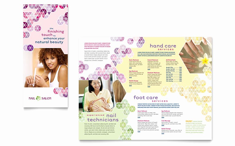 Salon Menu Templates Microsoft Word Awesome Nail Salon Brochure Template Word & Publisher