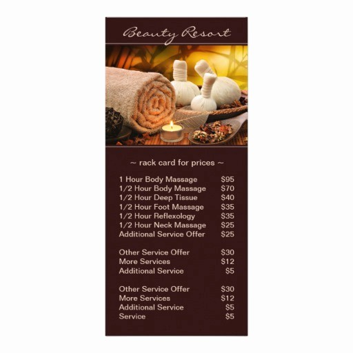 Salon Menu Templates Microsoft Word Awesome Pre Filled Spa Massage Salon Price List Rack Card