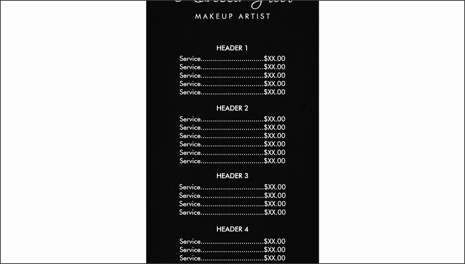 Salon Menu Templates Microsoft Word Beautiful 6 Salon Price List Template Sampletemplatess
