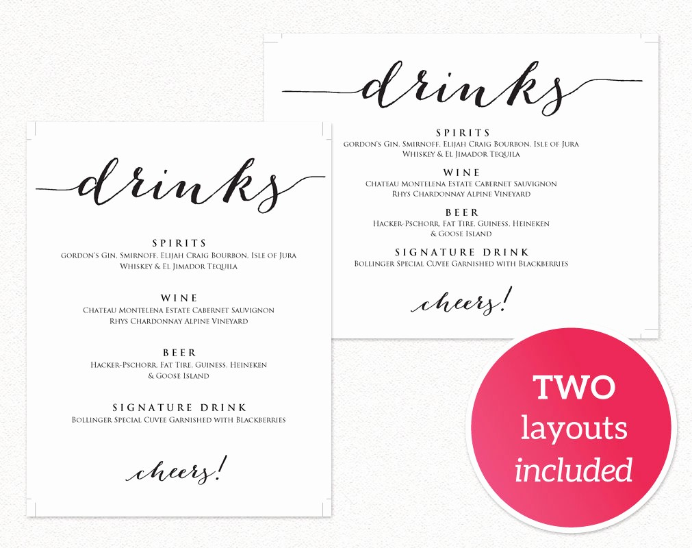 Salon Menu Templates Microsoft Word Best Of Wedding Drinks Menu · Wedding Templates and Printables