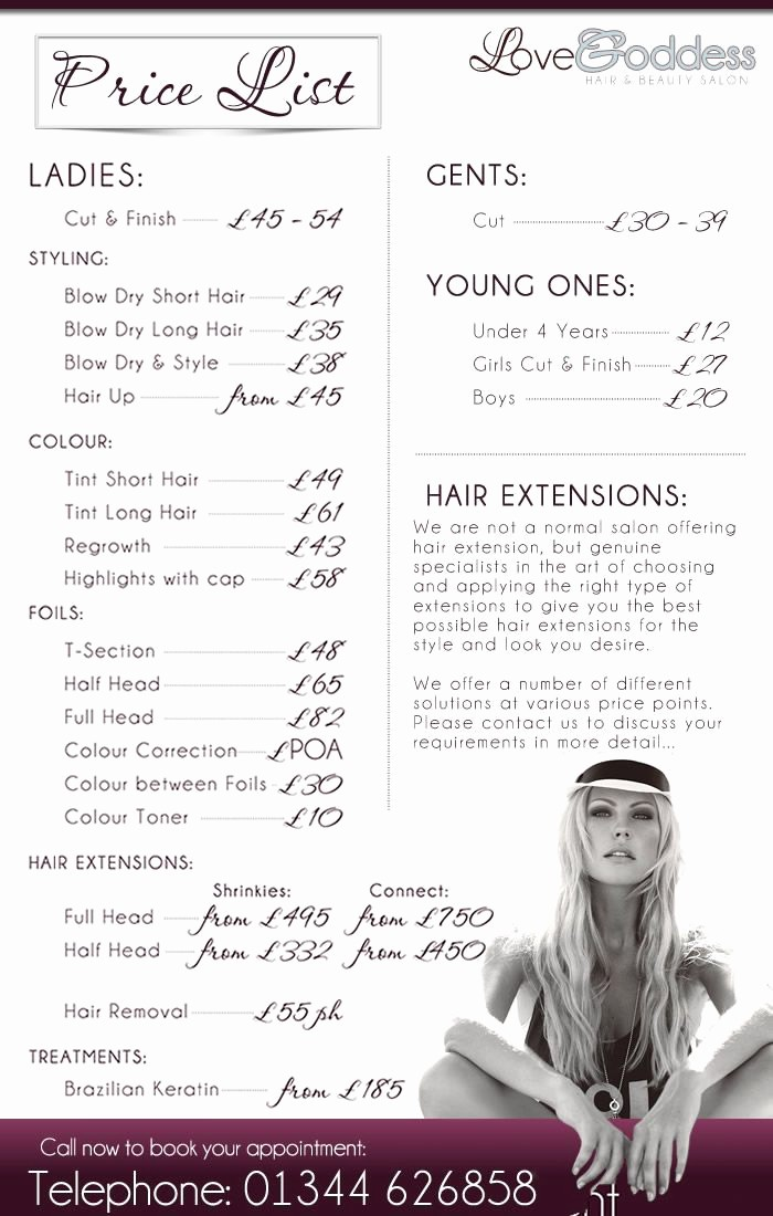 Salon Menu Templates Microsoft Word Fresh Salon Price List I Like the Layout and the Photo at the