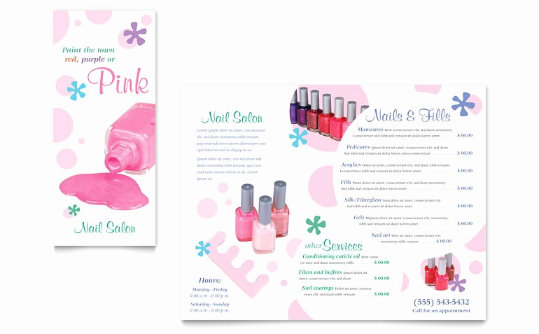 Salon Menu Templates Microsoft Word Inspirational Nail Salon Brochure Template Word & Publisher