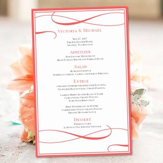 wedding menu template microsoft word