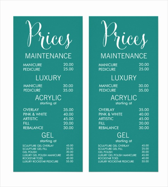 Salon Menu Templates Microsoft Word Lovely 22 Price Menu Templates – Free Sample Example format