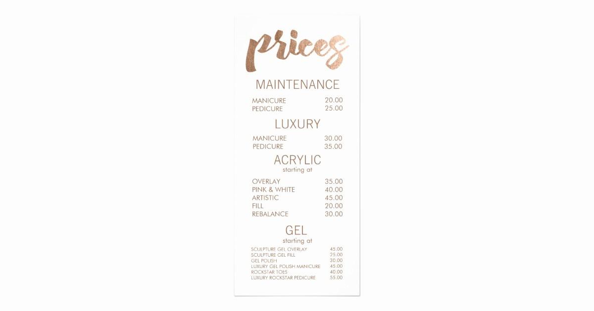 Salon Menu Templates Microsoft Word Lovely Bronze Salon Retail Menu Price List Template Cards