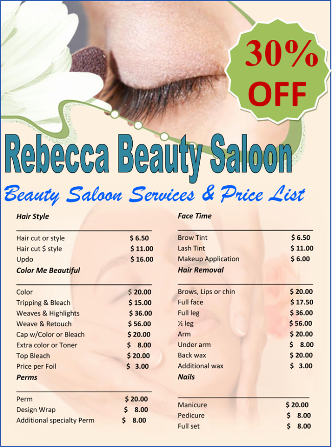 Salon Menu Templates Microsoft Word Lovely Price List Template 6 Price Lists for Word and Excel
