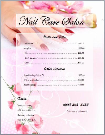 Salon Menu Templates Microsoft Word Luxury 25 Best Nail Salon Prices Ideas On Pinterest