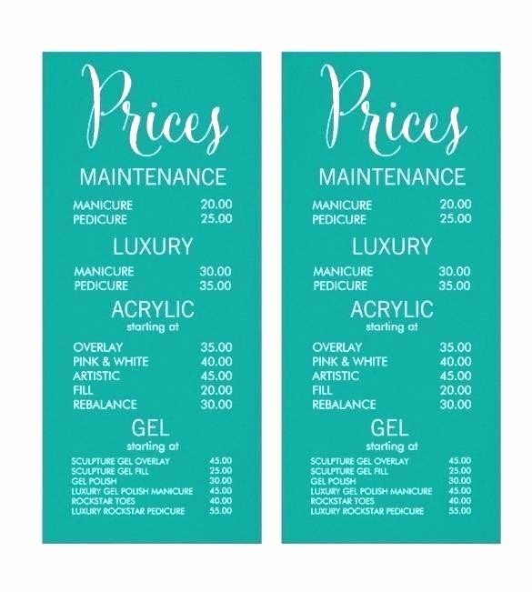 Salon Menu Templates Microsoft Word New Beauty therapy Price List Template Hairdressing Design