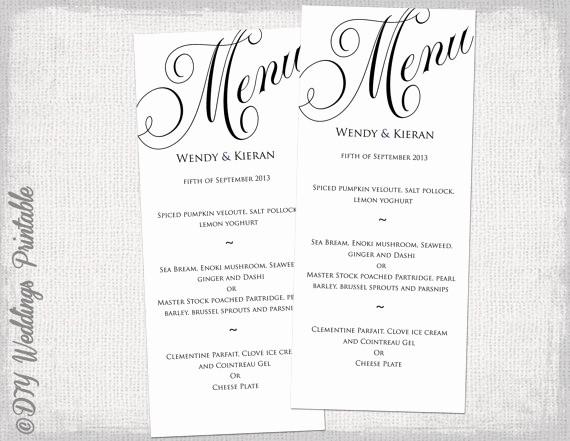 Salon Menu Templates Microsoft Word New Wedding Menu Templates for Microsoft Word Printable Black
