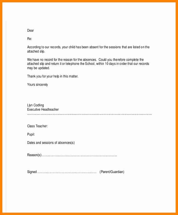 Sample Absence Letter to Teacher Awesome 10 Absent Letter to Teacher