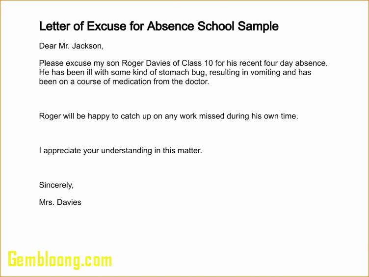 Sample Absence Letter to Teacher Awesome Fresh Absent Excuse Letter