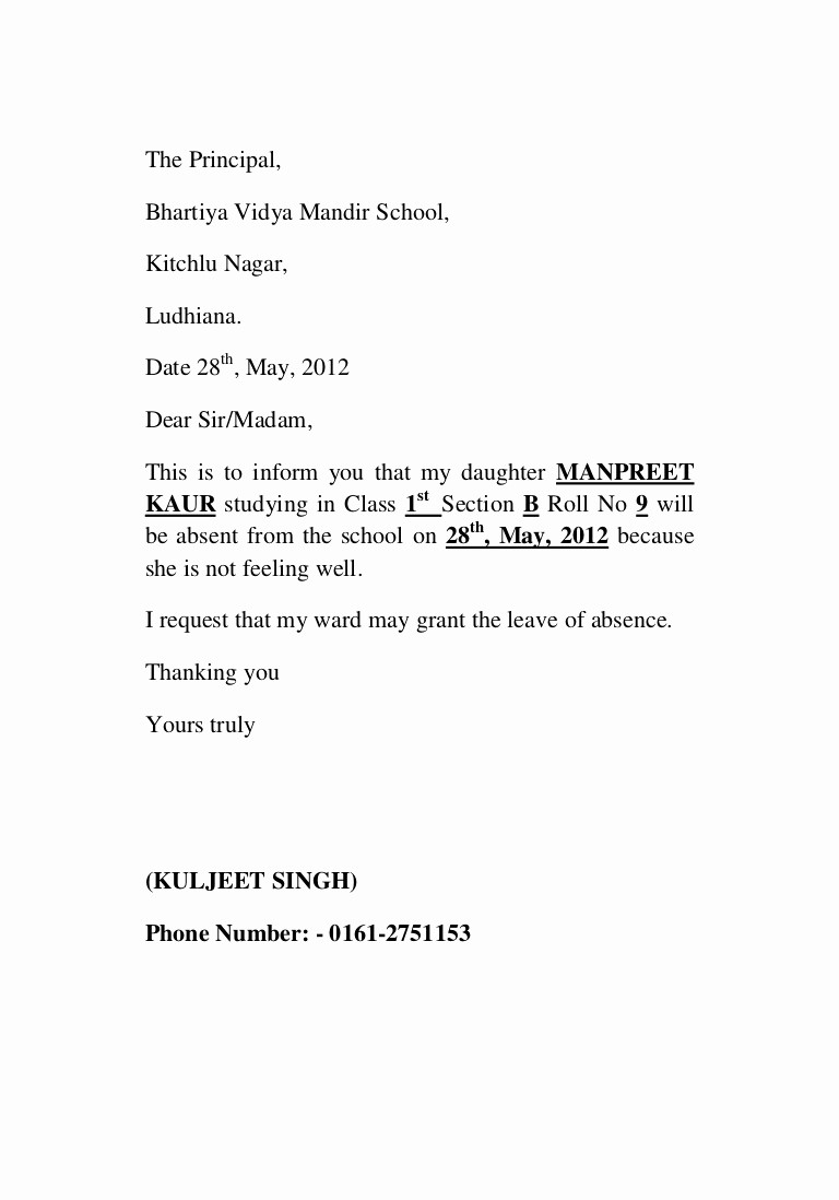 Sample Absence Letter to Teacher Awesome Leave Application