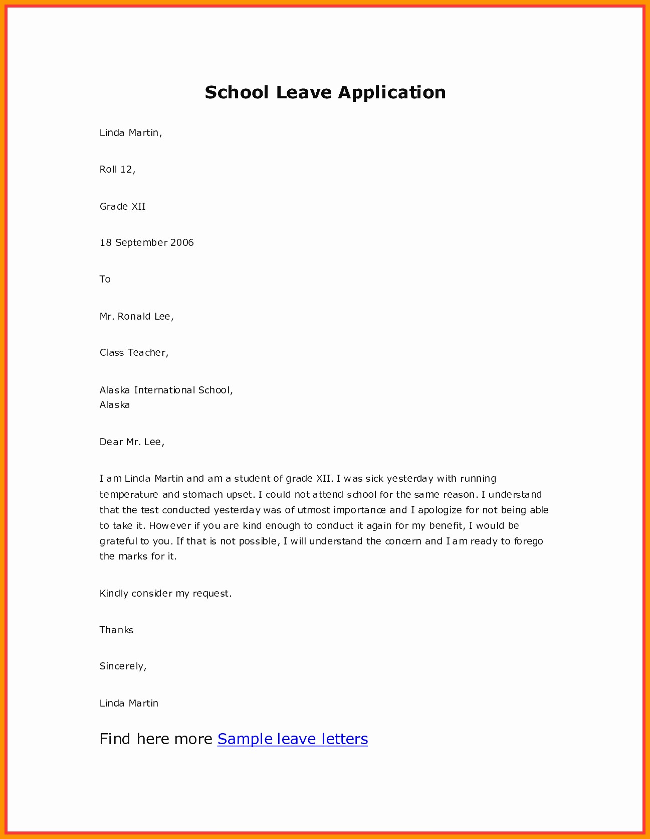 Sample Absence Letter to Teacher Beautiful Leave Letter to Class Teacher for Absence Band Ible