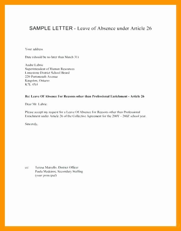 Sample Absence Letter to Teacher Elegant Absent Note for School Leave Absence Letter Sample
