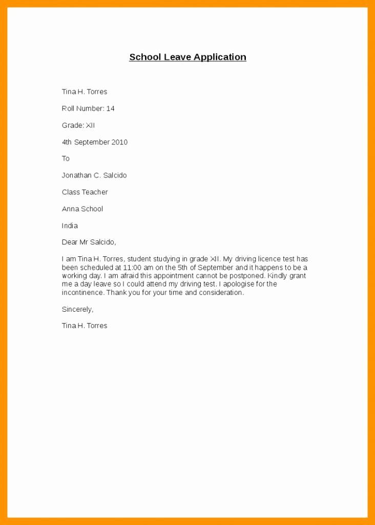 Sample Absence Letter to Teacher Inspirational Leave Letter to Class Teacher for Absence 0 – Band Ible