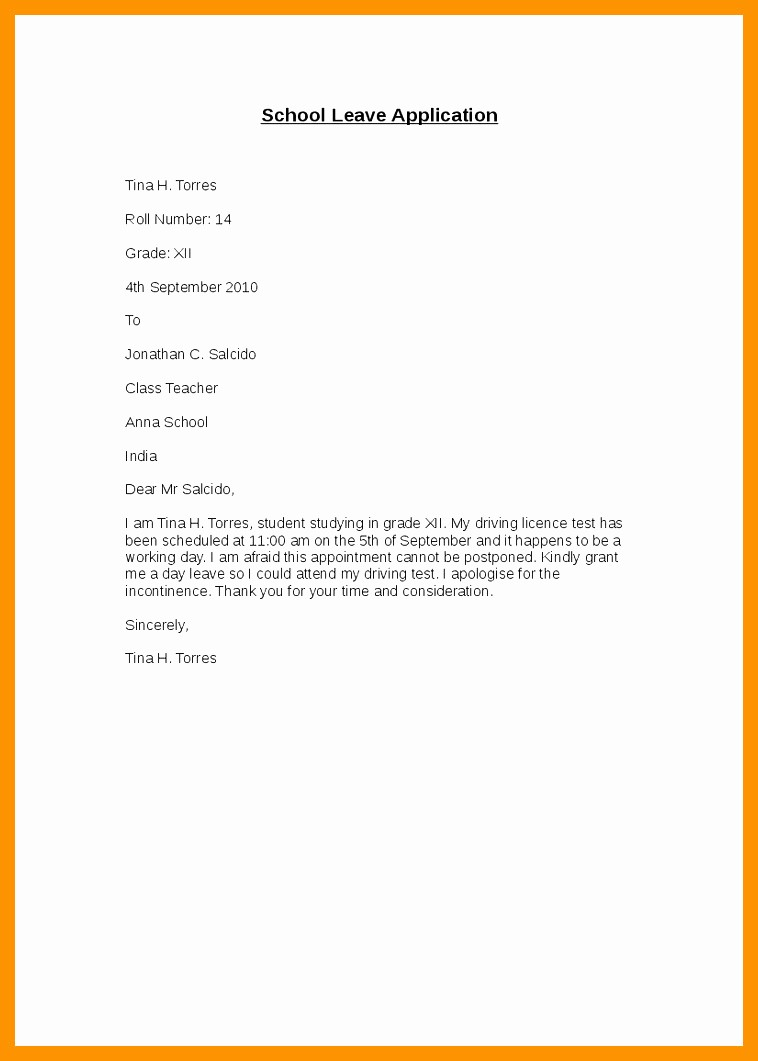 Sample Absence Letter to Teacher Inspirational Leave Letter to Class Teacher for Absence Band Ible