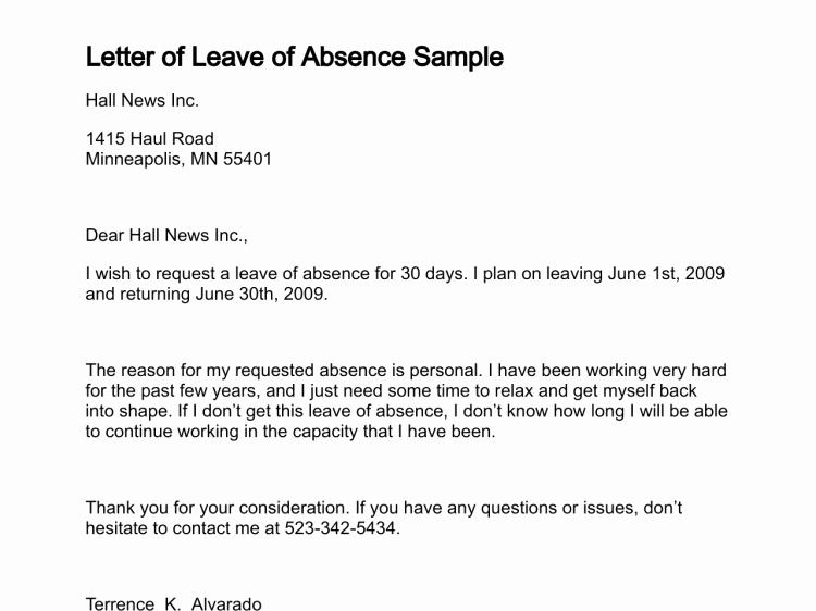 Sample Absence Letter to Teacher Lovely Leave Absence Letter Free Printable Documents