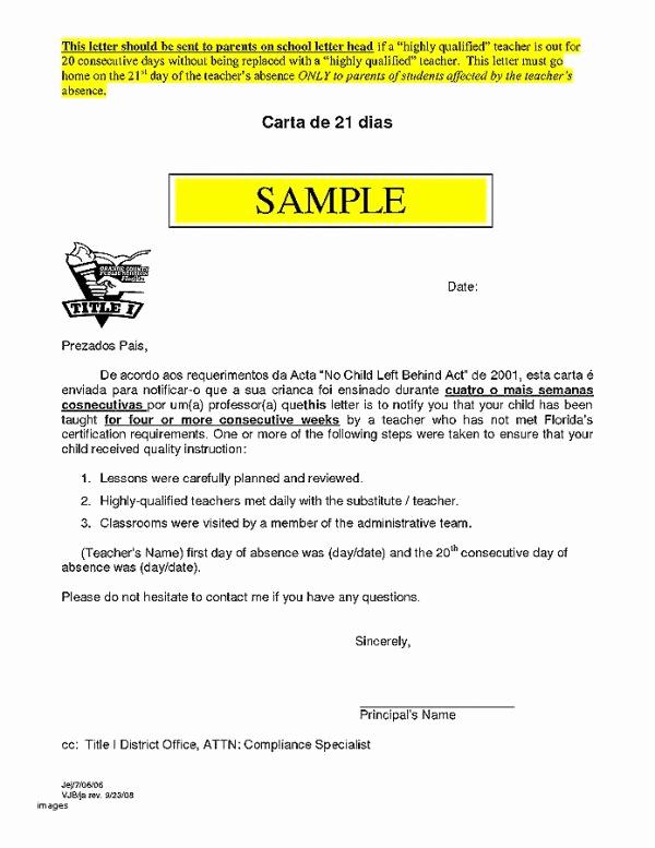 Sample Absence Letter to Teacher Luxury 9 10 Absent Letter to Teacher