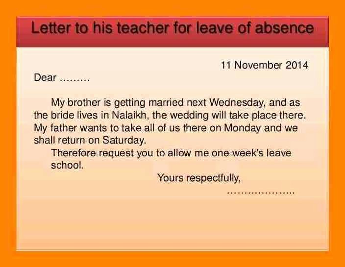 Sample Absence Letter to Teacher Unique 12 Absent Letter to Class Teacher