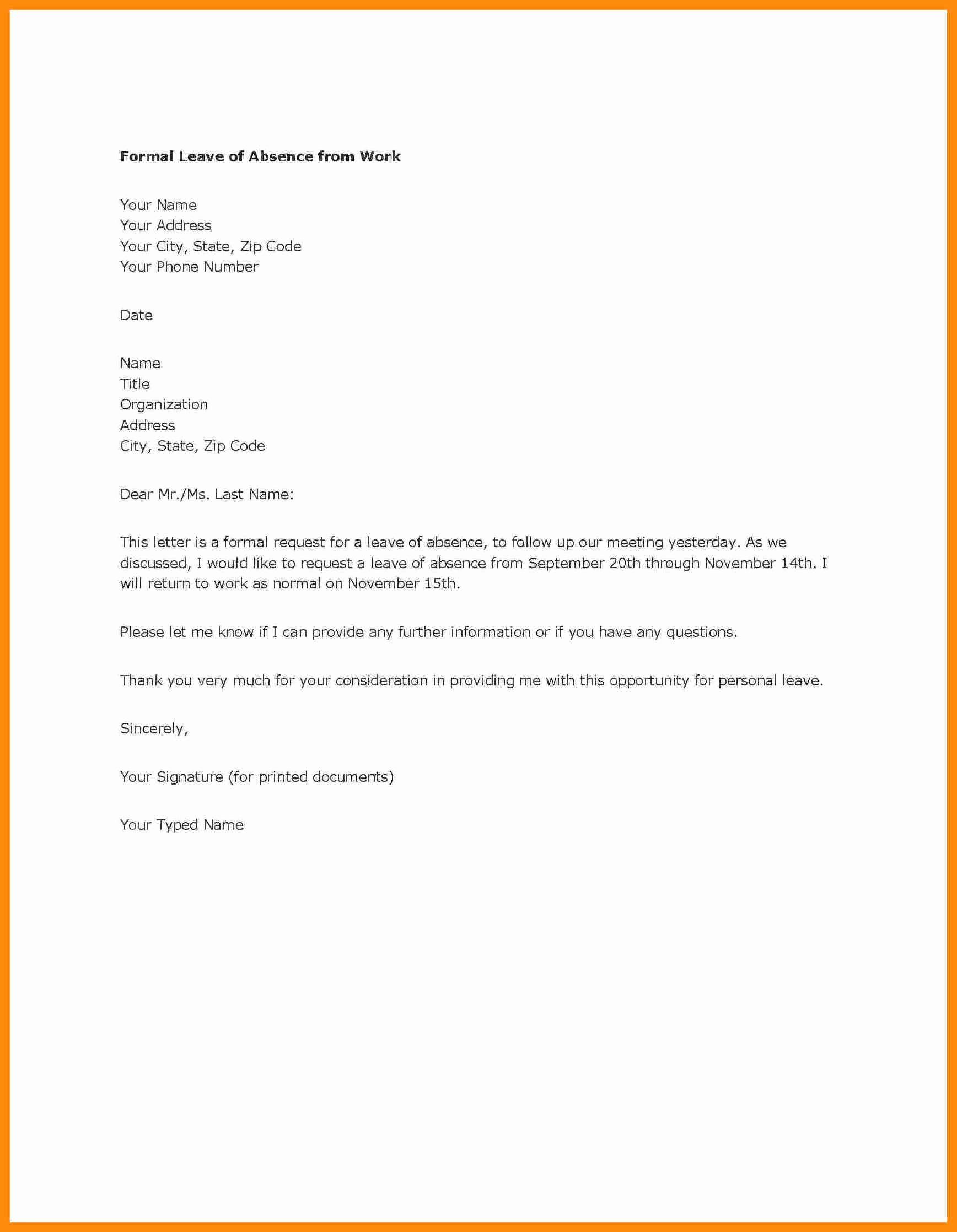 Sample Absence Letter to Teacher Unique Sample Absence Letter to Class Teacher Leave School