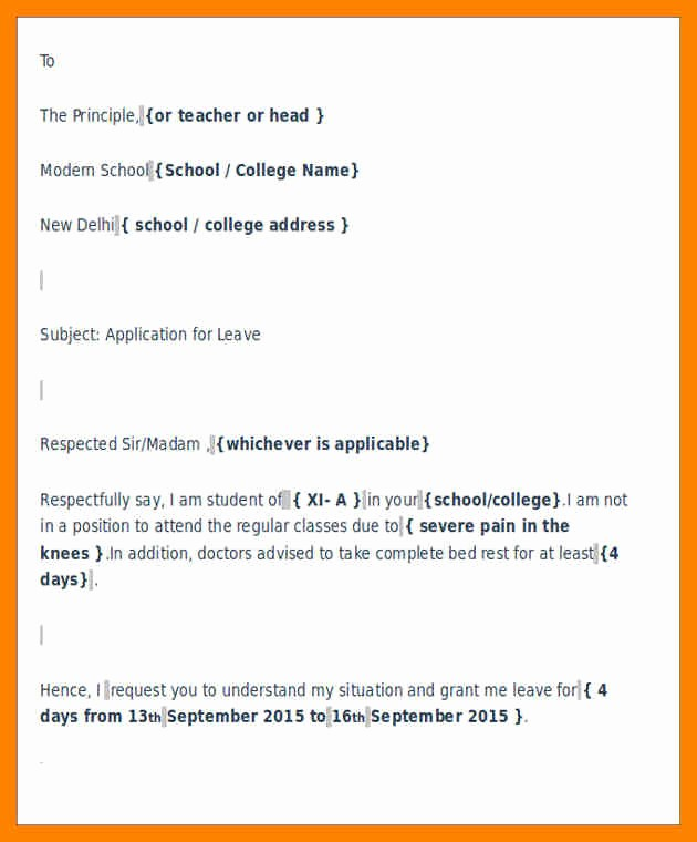 Sample Absent Letter to Teacher Awesome 8 Sample Sick Leave Letter to Class Teacher