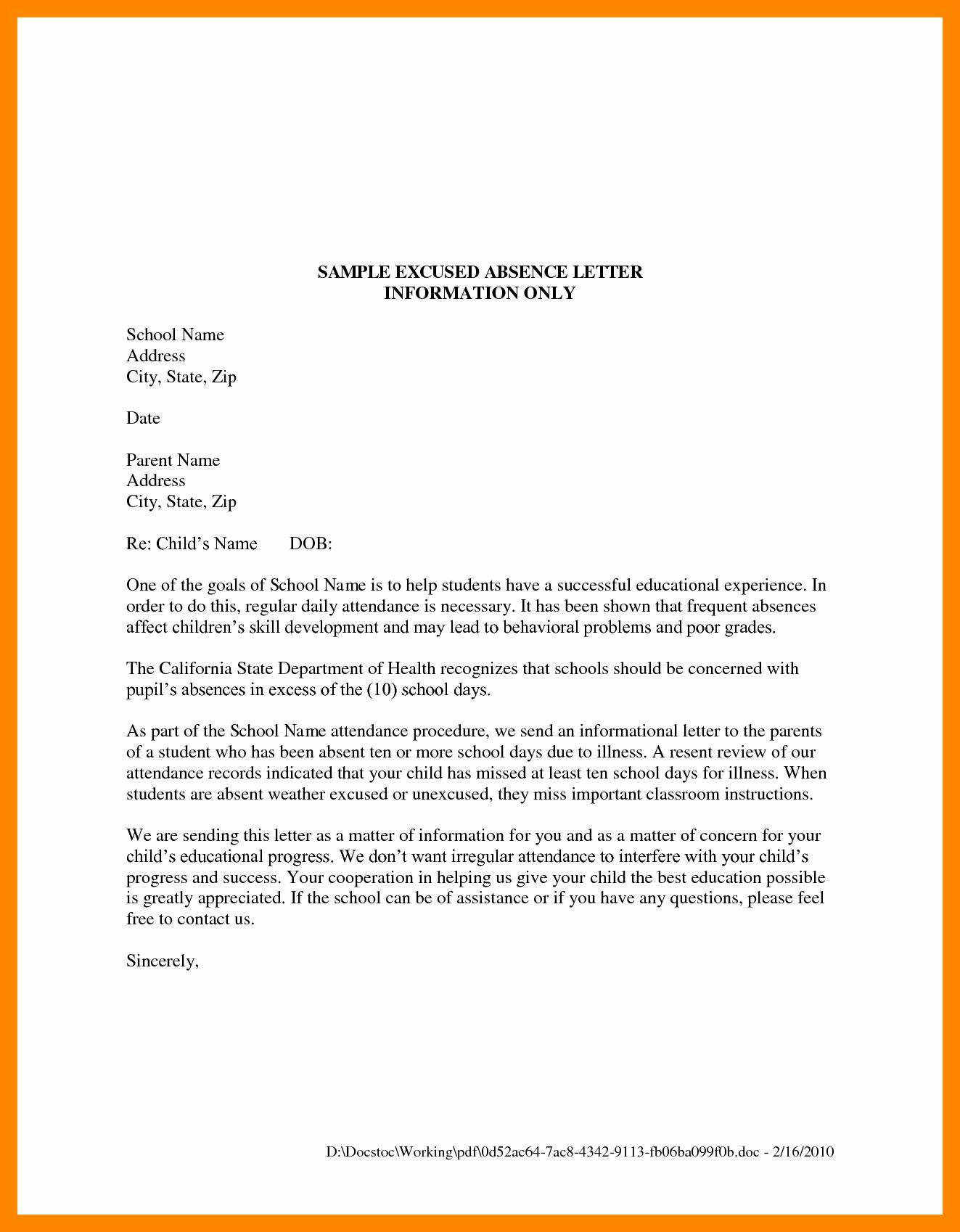 Sample Absent Letter to Teacher Best Of Apology Letter to Teacher for Being Absent New 7 Excuse