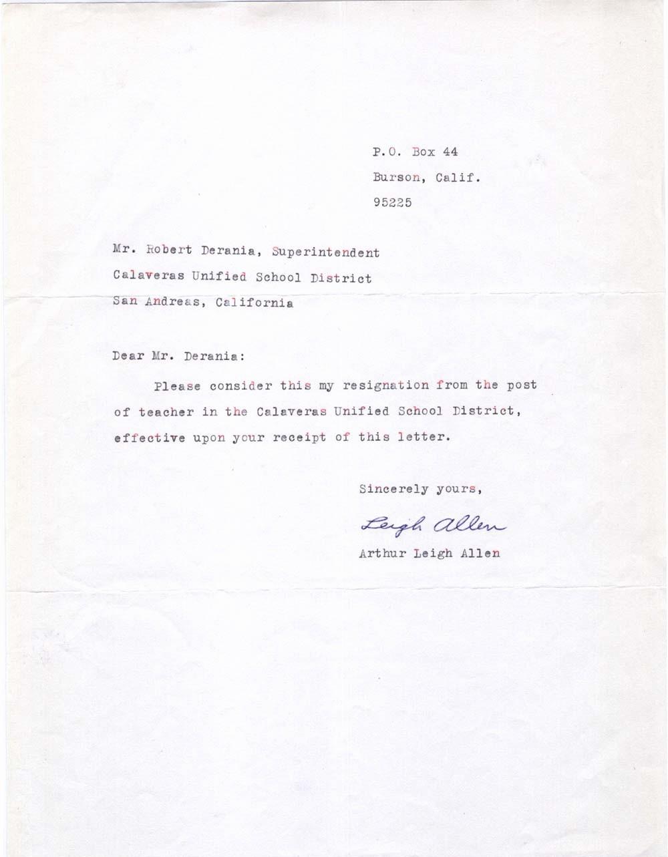 Sample Absent Letter to Teacher Best Of Arthur Leigh Allen S 1966 1968 Personnel File