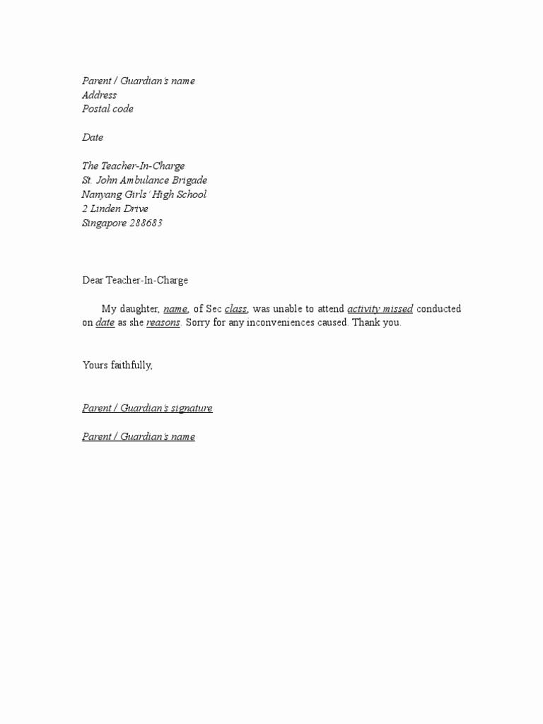 Sample Absent Letter to Teacher Fresh Excuse Letter format